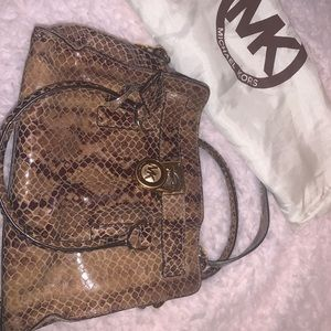 MK Snakeskin Embossed Leather Hamilton Satchel
